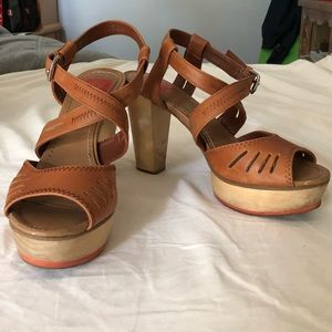 Faux Leather Platform Sandals with Chunky Heel